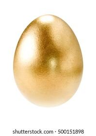 Gold egg on white background isolated with path.