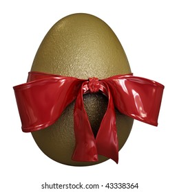 Gold egg with a red tie