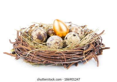Gold eggs in nest from hay isolated on white
