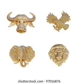 Gold emblem of animal mask, isolated against white.