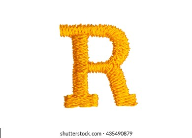Gold Embroidery Designs alphabet R isolate on white background
