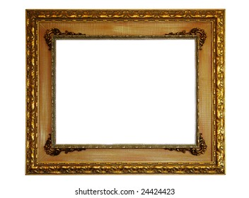 Gold empty picture frame isolated on white