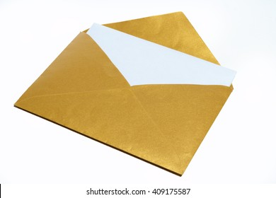 Gold envelope white a white sheet of paper inside isolated on white background