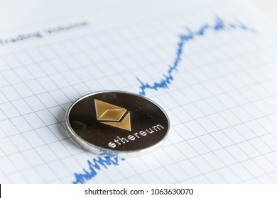 Gold ethereum cryptocurrency coin on rising line graph stock market trading chart with copy space.