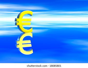 Gold EU Euro Currency Symbol on Blue Background