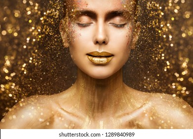 Gold Fashion Makeup, Art Beauty Face and Lips Make Up in Golden Sparkles, Woman Dreams
