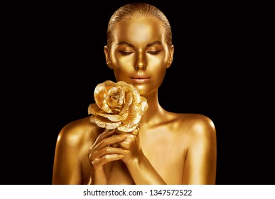 Gold Fashion Model Beauty Portrait with Rose Flower, Golden Woman Art Luxury Makeup on studio black background
