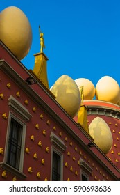 Gold figures and eggs on roof of Salvador Dali Museum - Figueres, Spain
