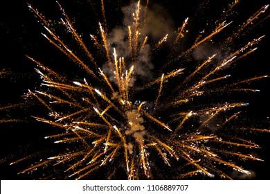 Gold Fireworks Lights on Night Sky