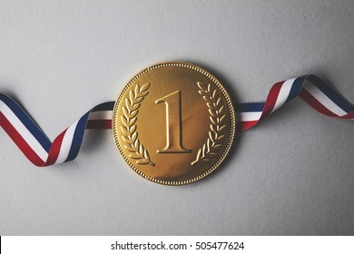 Gold first place winners medal. Success achievement concept