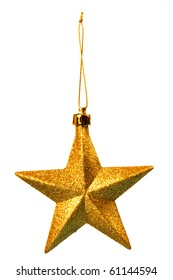 Gold five pointed star christmas decoration for haging on tree