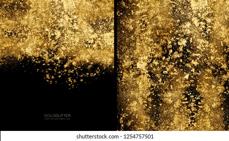 Gold flakes or golden dust on black background - abstract background concept with copy space. Scattered gold glitter powder for a festive or beauty background. Glitter burst
