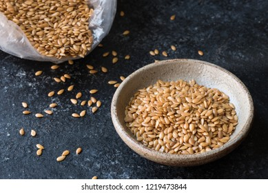 Gold Flaxseeds in a Bowl