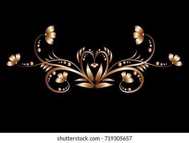 Gold floral foil pattern on a dark background close-up for festive decoration