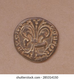 """Gold Florin (Fiorino d'oro) coin issued circa 1256 in Florence, Italy - reading """"Florentia"""" on the front side"""