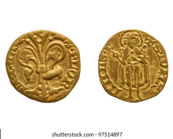 "Gold Florin (Fiorino d'oro) coin issued circa 1256 in Florence, Italy - reading ""Florentia"" on the front side and ""S. Iohannes"" on the rear side"