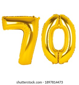 Gold foil balloon figures on white background