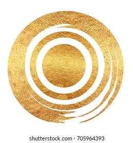 Gold Foil Grunge Bullseye on White Background.