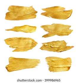 Gold Foil Watercolor Texture Paint Stain Abstract Illustration Set. Yellow shining brush stroke for you amazing design project.