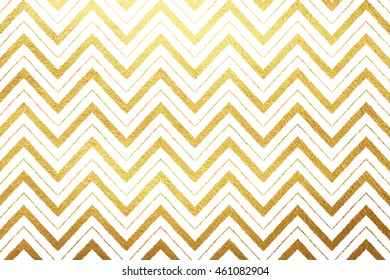 Gold foil zigzag ornament background. Golden waves isolated on white luxury backdrop. Zigzag stripes of different width. Yellow tribal or ethnic abstract background.