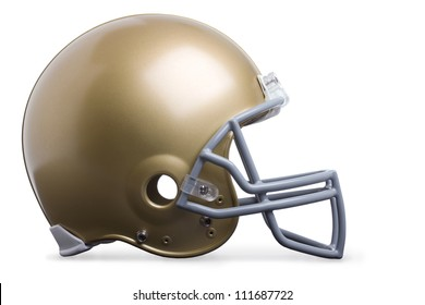 Gold football helmet isolated on white