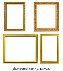 Gold frame Elegant vintage Isolated on white background.