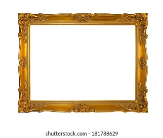 Gold frame isolated included clipping path