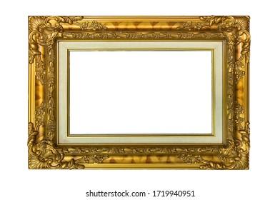 Gold frame isolated on white background.