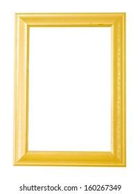 Gold frame on isolated white background