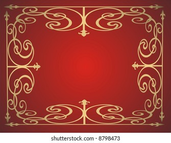 Gold frame on red background - vector