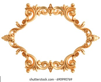 Gold frame on a white background. Isolated. 3D illustration