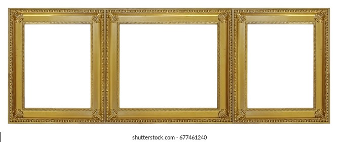 Gold Frame Three Parts Triptych On Stock Photo (Edit Now) 676248223 ...