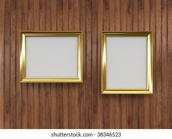 Gold frames on wood wall