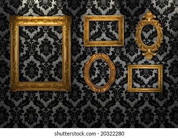 Gold frames, retro wallpaper, similar available in my portfolio