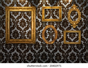 Gold frames, retro wallpaper, spotlights from above,similar available in my portfolio