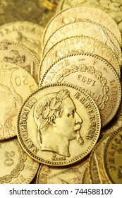 Gold french coin, Napoleon, for money or business background
