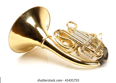 Gold French Horn on white background