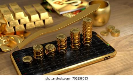 Gold Futures, Mobile foreign exchange trading, success  - 3d render illustrator