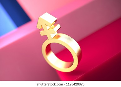 Gold Gender Mars Stroke v Icon on the Pink and Blue Geometric Background. 3D Illustration of Gold Man, Male, Gender, Mars, Signs, Masculine Icon Set With Color Boxes on the Pink Background.