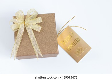 Gold gift box with greating card