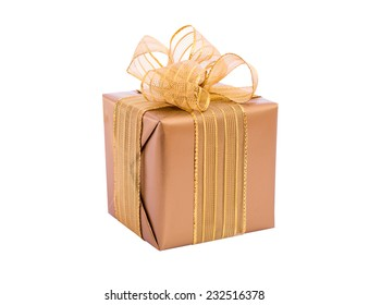 Gold gift box with ribbon and bow isolated. Christmas present