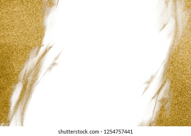 Gold glitter background for seasonal greetings. Golden sand or dust Christmas decoration background concept with white copy space in the middle