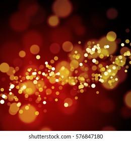 Gold glitter bokeh on dark red background