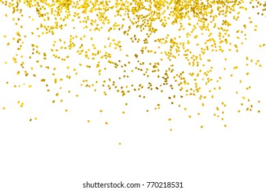 Gold glitter isolated on white background decoration party merry christmas happy new year backdrop design