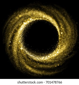 Gold glitter particle swirl circle effect. Vector sparkling light twirl of glowing glittering particles whirl texture. Space star dust round shine or wind wave spin with glow tail on black background