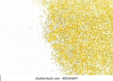 Gold glitter texture on white abstract background