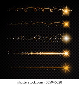 Gold glittering spiral star dust trail sparkling particles on transparent background. Space comet tail.