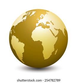 gold globe isolated on white background
