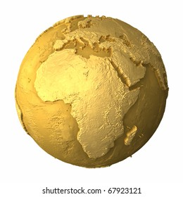Gold globe - metal earth with realistic topography - africa, 3d render