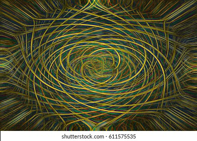 Gold green blue abstract glowing oriental pattern